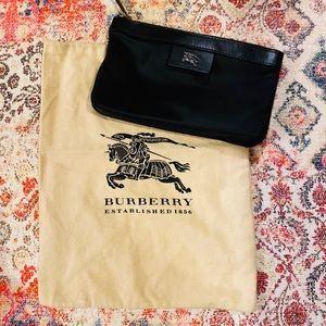 Burberry Black Nylon Pouch Inside Checkered Inside